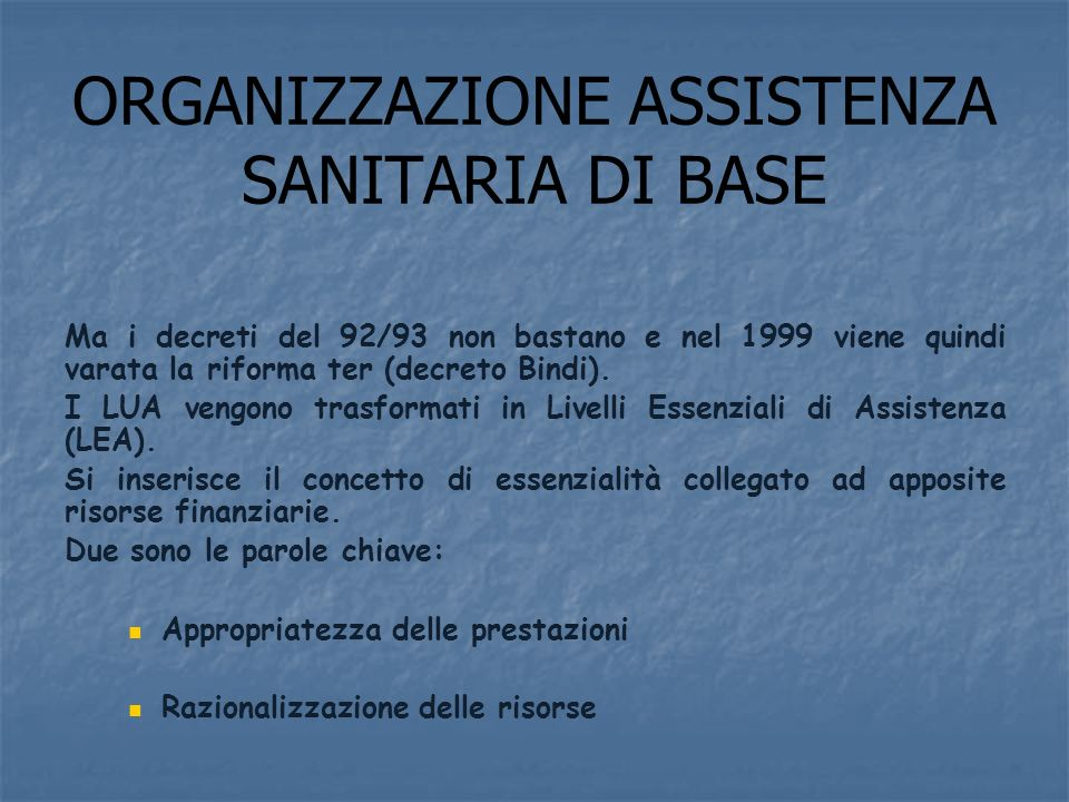 ORGANIZZAZIONE ASSISTENZA SANITARIA DI BASE
