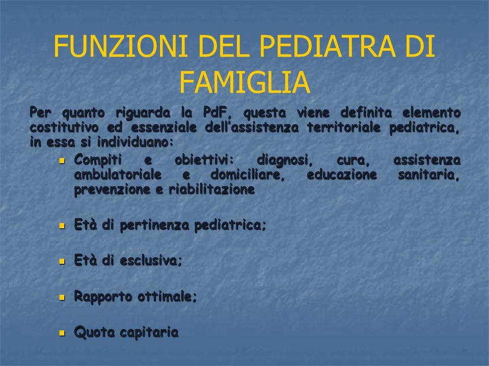 FUNZIONI DEL PEDIATRA DI FAMIGLIA