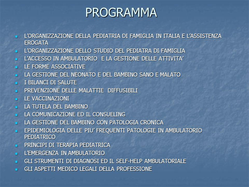 programma L'ORGANIZZAZIONE DELLA PEDIATRIA DI FAMIGLIA IN ITALIA E L'ASSISTENZA EROGATA. L'ORGANIZZAZIONE DELLO STUDIO DEL PEDIATRA DI FAMIGLIA.