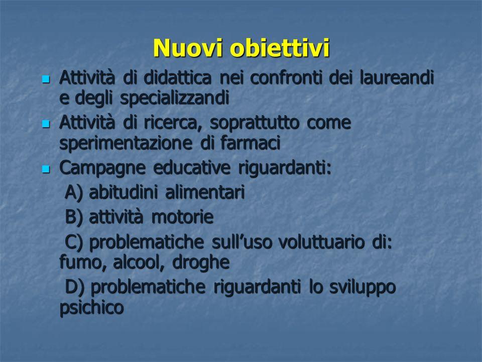 Nuovi obiettivi Attività di didattica nei confronti dei laureandi e degli specializzandi.