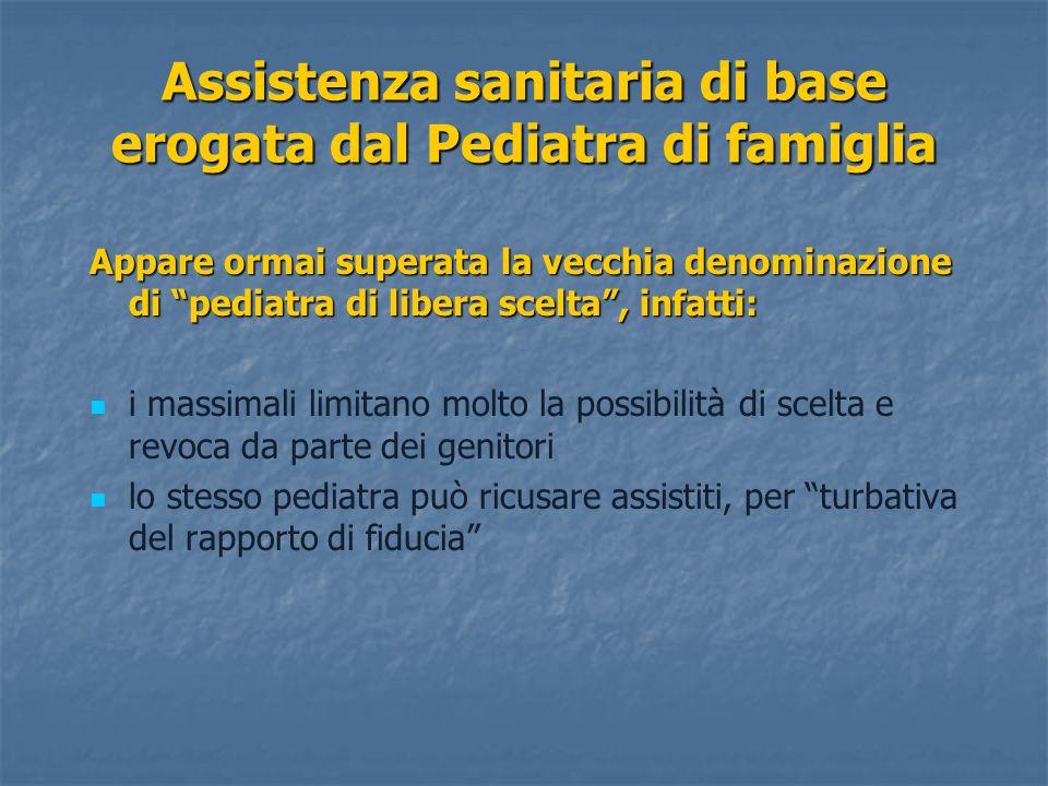 Assistenza sanitaria di base erogata dal Pediatra di famiglia