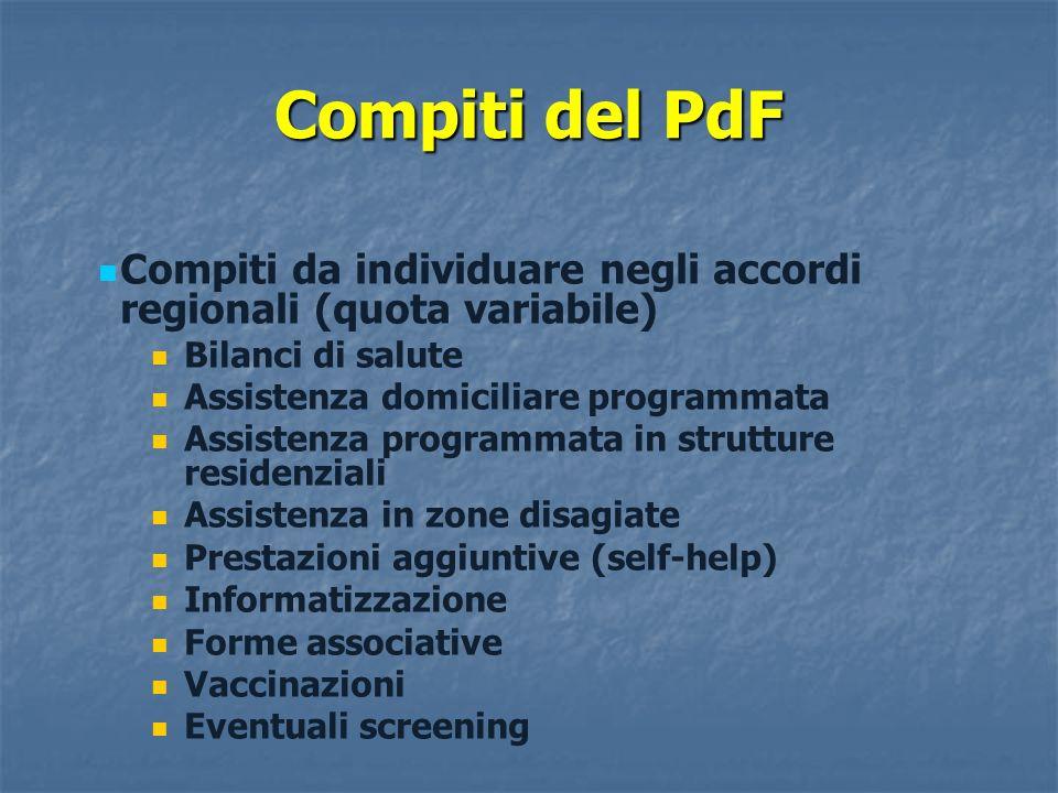 Compiti del PdF Compiti da individuare negli accordi regionali (quota variabile) Bilanci di salute.
