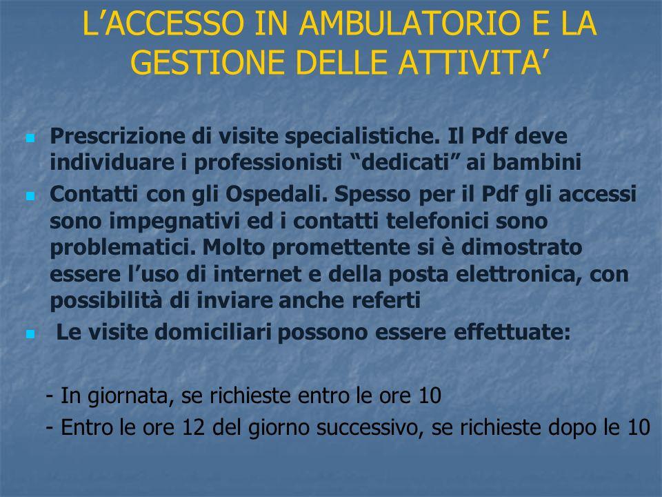 L'ACCESSO IN AMBULATORIO E LA GESTIONE DELLE ATTIVITA'