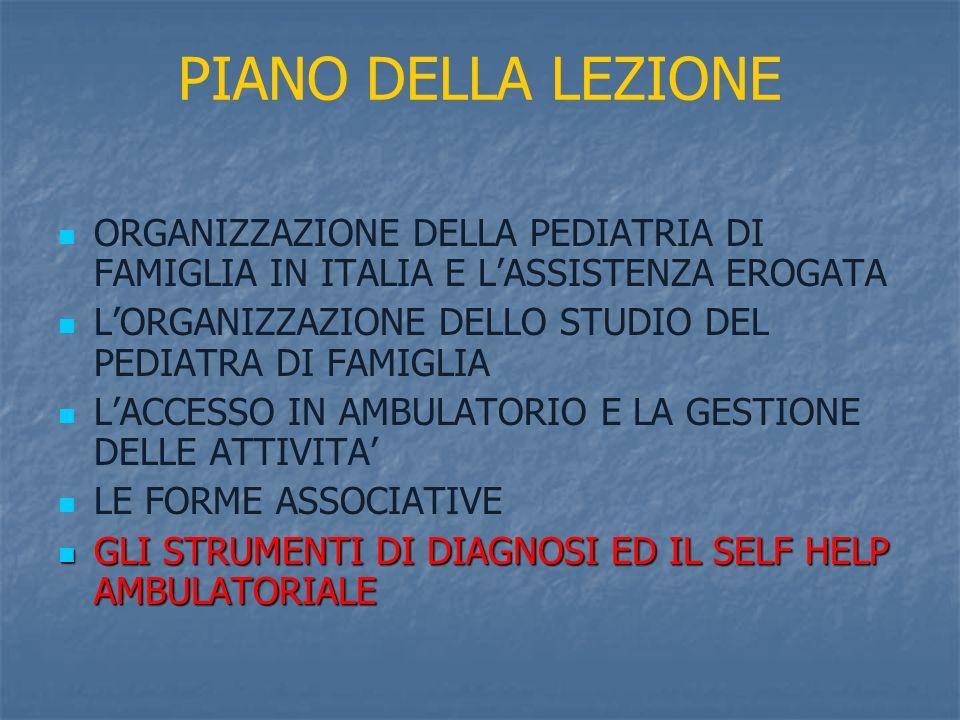 PIANO DELLA LEZIONE ORGANIZZAZIONE DELLA PEDIATRIA DI FAMIGLIA IN ITALIA E L'ASSISTENZA EROGATA.