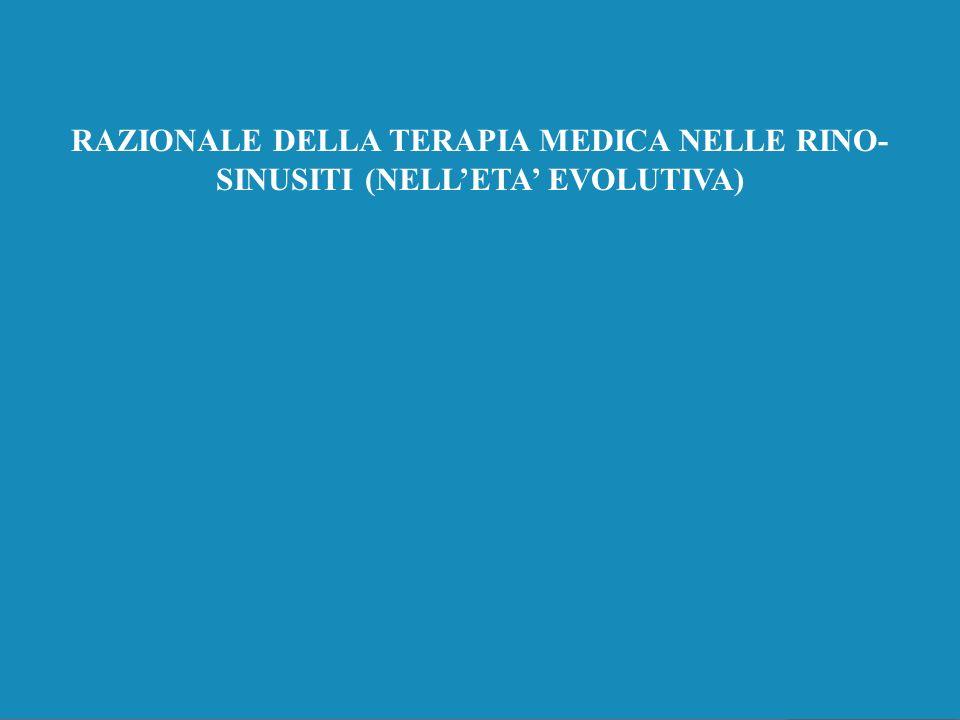 RAZIONALE DELLA TERAPIA MEDICA NELLE RINO-SINUSITI (NELL'ETA' EVOLUTIVA)