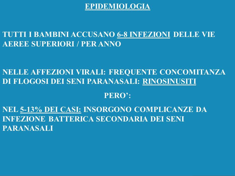 EPIDEMIOLOGIA TUTTI I BAMBINI ACCUSANO 6-8 INFEZIONI DELLE VIE AEREE SUPERIORI / PER ANNO.