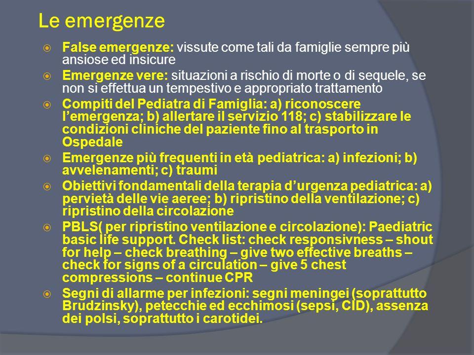 Le emergenze False emergenze: vissute come tali da famiglie sempre più ansiose ed insicure.