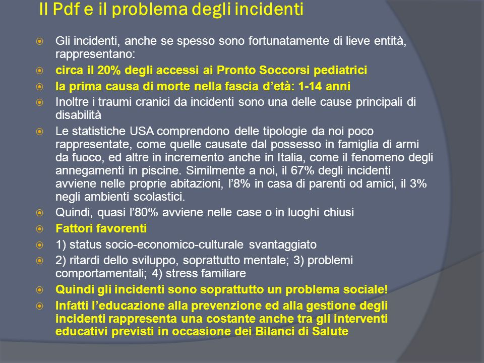 Il Pdf e il problema degli incidenti