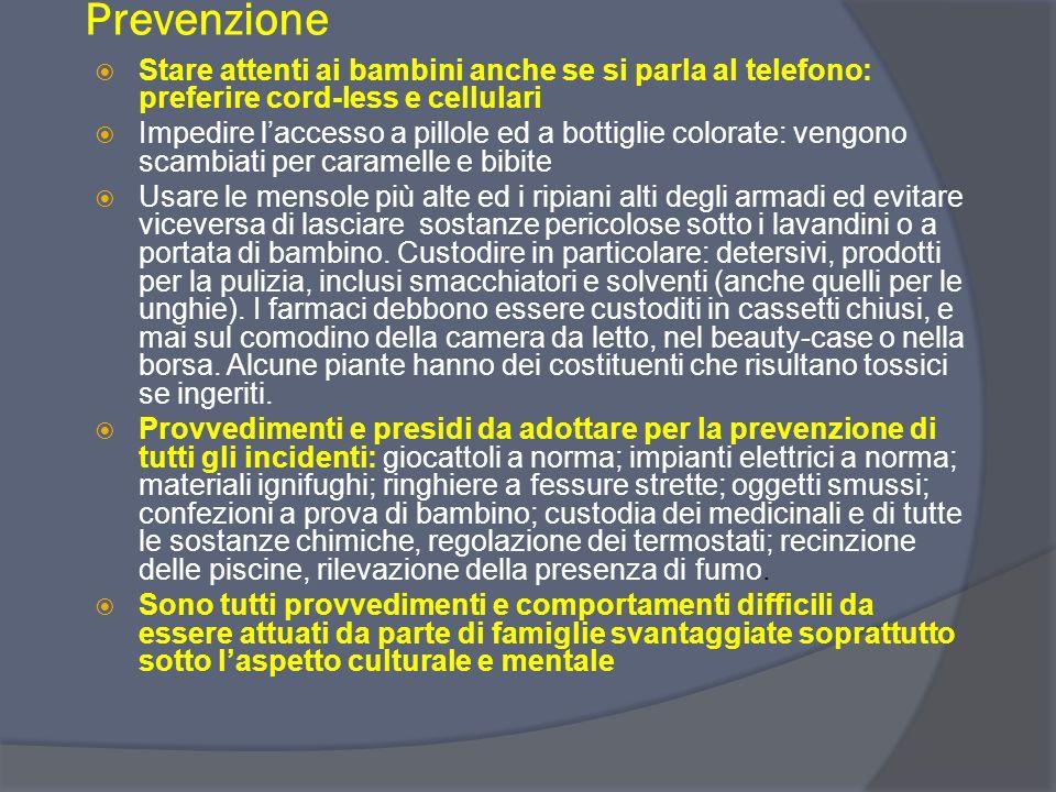 Prevenzione Stare attenti ai bambini anche se si parla al telefono: preferire cord-less e cellulari.