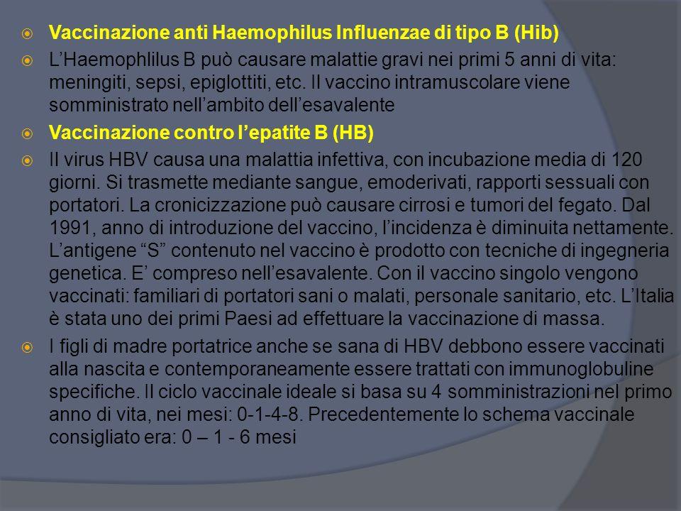 Vaccinazione anti Haemophilus Influenzae di tipo B (Hib)