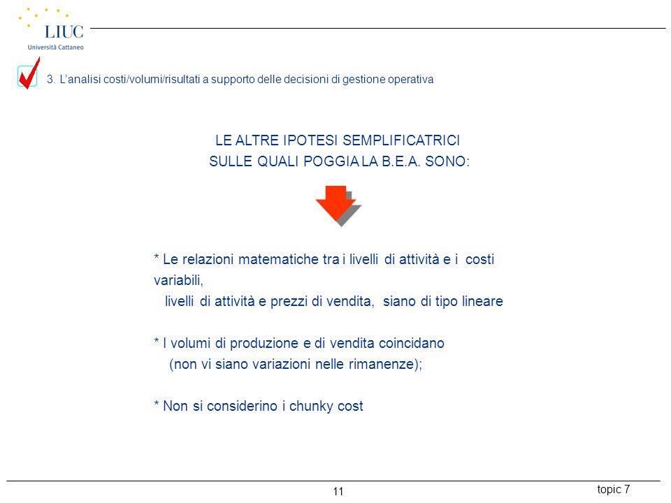 LE ALTRE IPOTESI SEMPLIFICATRICI SULLE QUALI POGGIA LA B.E.A. SONO: