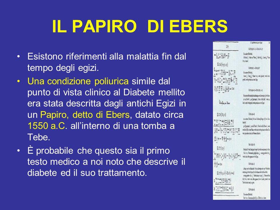 IL PAPIRO DI EBERS Esistono riferimenti alla malattia fin dal tempo degli egizi.