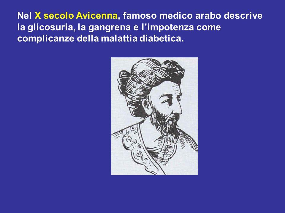 Nel X secolo Avicenna, famoso medico arabo descrive la glicosuria, la gangrena e l'impotenza come complicanze della malattia diabetica.