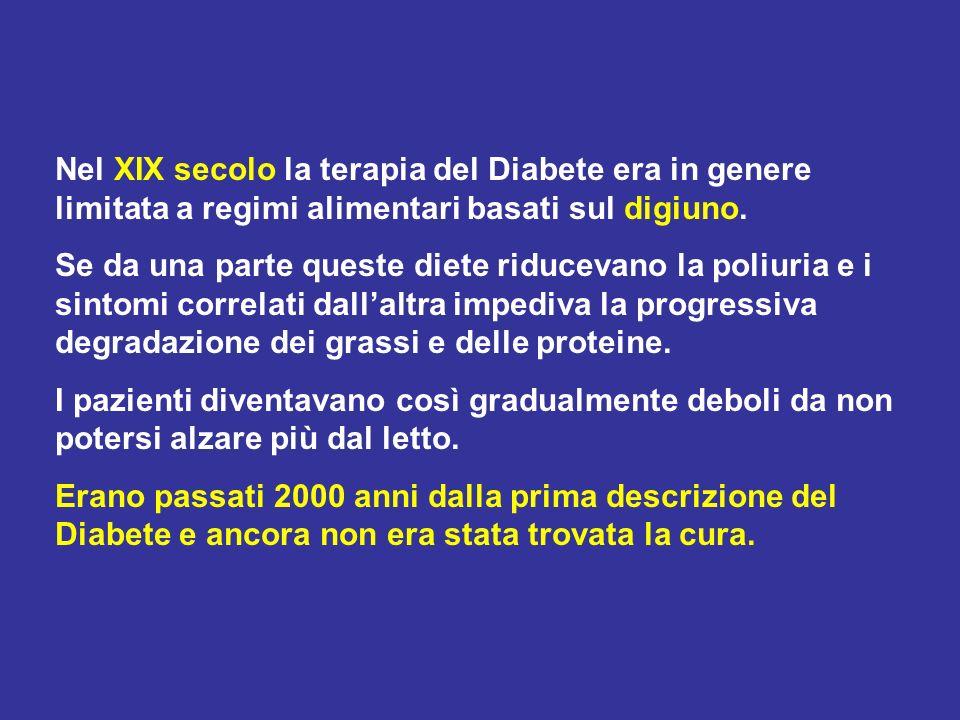 Nel XIX secolo la terapia del Diabete era in genere limitata a regimi alimentari basati sul digiuno.