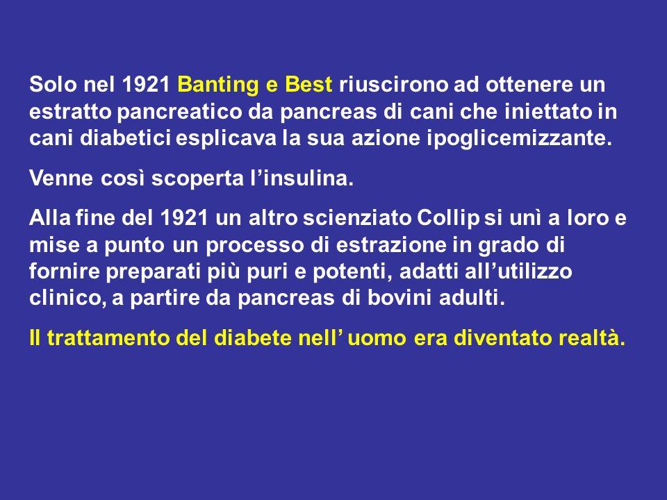 Solo nel 1921 Banting e Best riuscirono ad ottenere un estratto pancreatico da pancreas di cani che iniettato in cani diabetici esplicava la sua azione ipoglicemizzante.