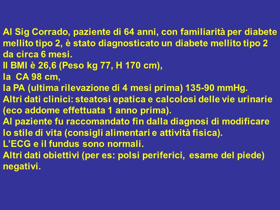 Al Sig Corrado, paziente di 64 anni, con familiarità per diabete mellito tipo 2, è stato diagnosticato un diabete mellito tipo 2 da circa 6 mesi.