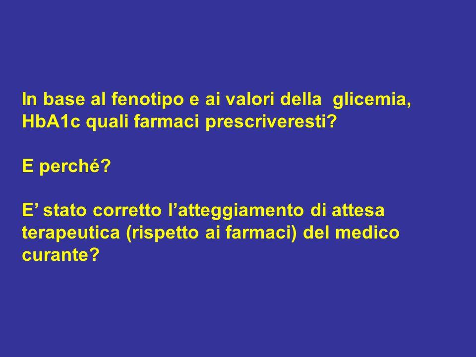 In base al fenotipo e ai valori della glicemia, HbA1c quali farmaci prescriveresti
