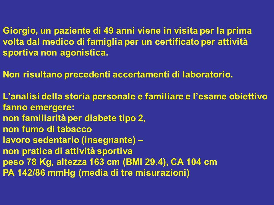 Giorgio, un paziente di 49 anni viene in visita per la prima volta dal medico di famiglia per un certificato per attività sportiva non agonistica.