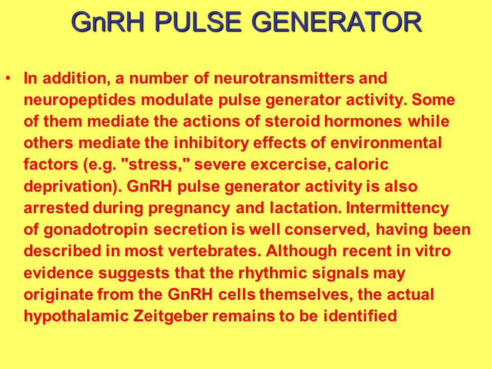 GnRH PULSE GENERATOR In addition, a number of neurotransmitters and