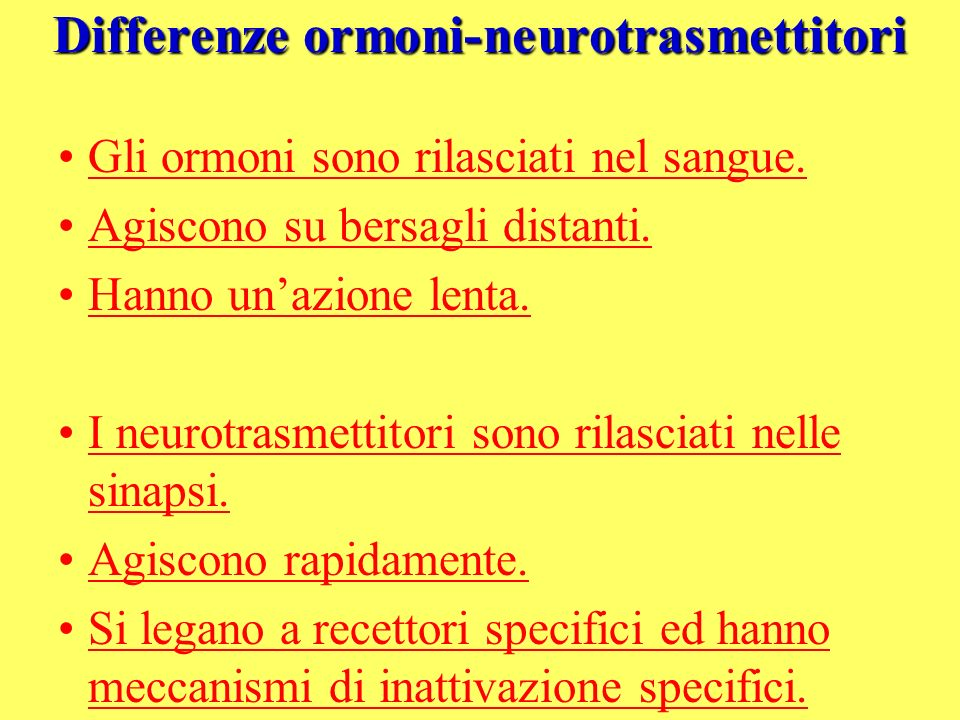 Differenze ormoni-neurotrasmettitori