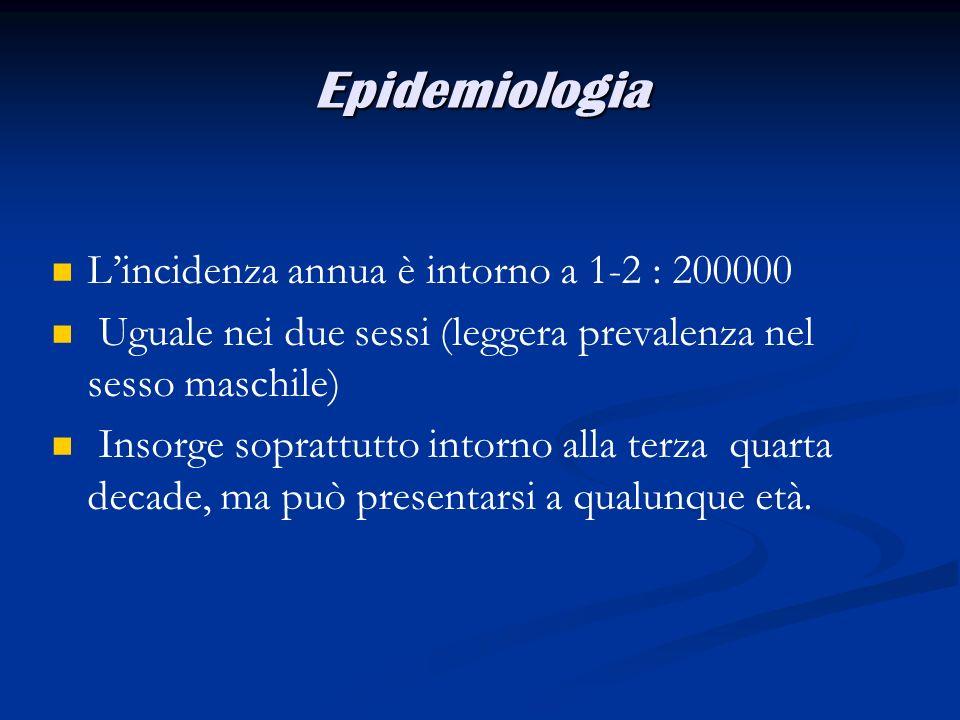 Epidemiologia L'incidenza annua è intorno a 1-2 : 200000