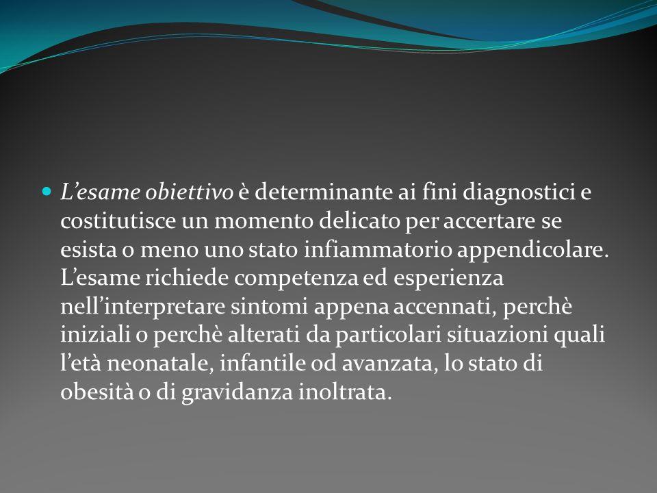 L'esame obiettivo è determinante ai fini diagnostici e costitutisce un momento delicato per accertare se esista o meno uno stato infiammatorio appendicolare.