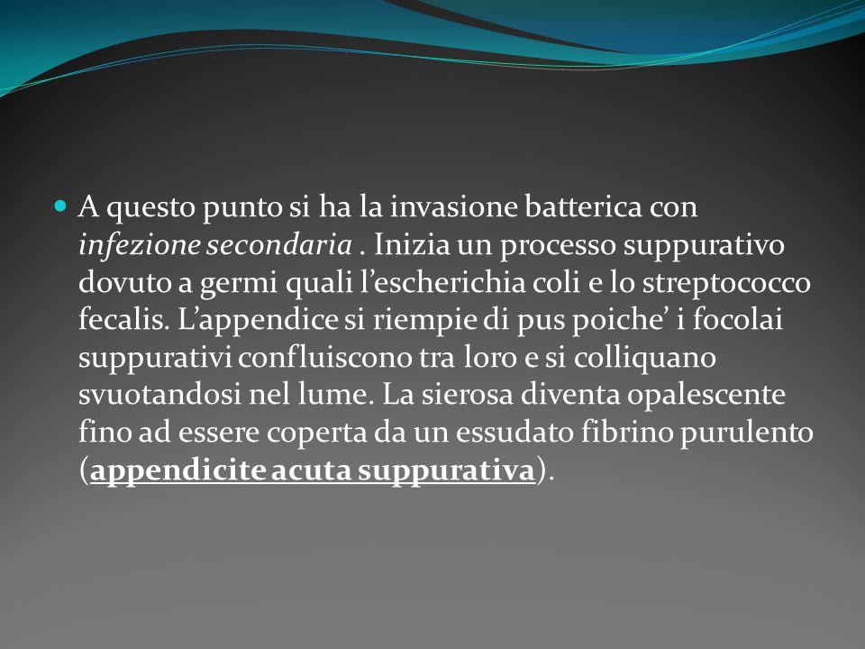 A questo punto si ha la invasione batterica con infezione secondaria