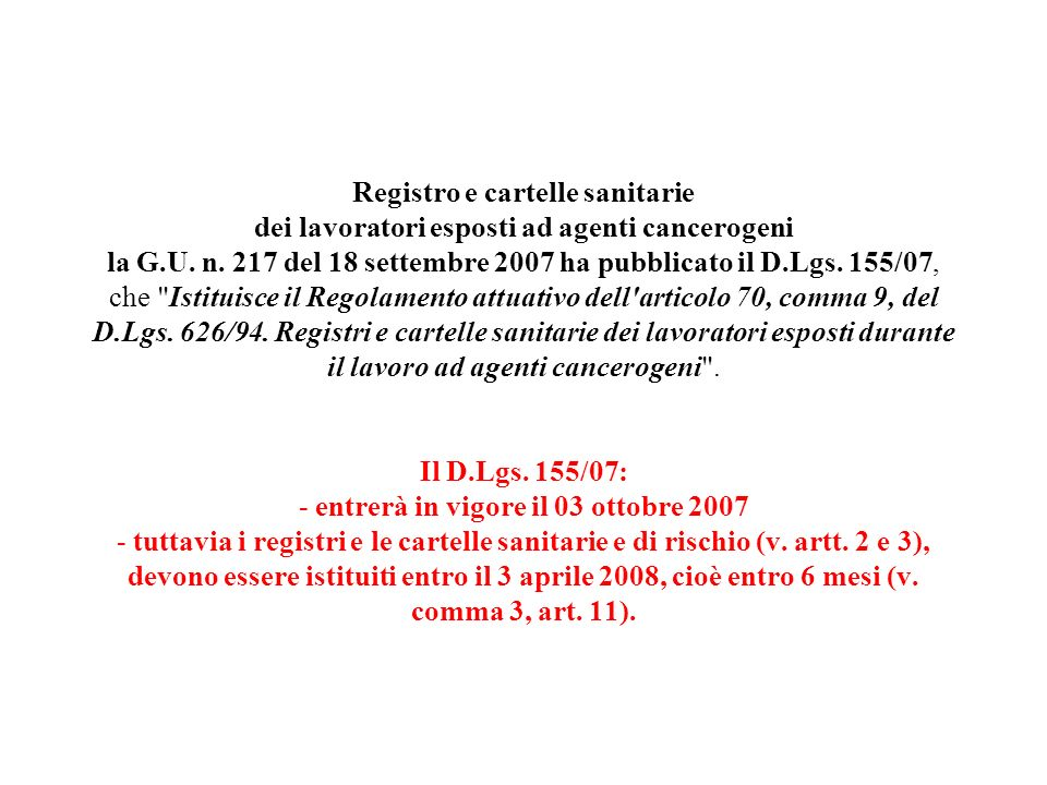 Registro e cartelle sanitarie dei lavoratori esposti ad agenti cancerogeni la G.U.