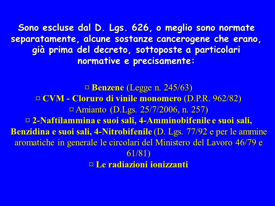 ¤ CVM - Cloruro di vinile monomero (D.P.R. 962/82)