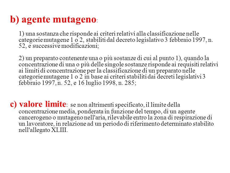b) agente mutageno: 1) una sostanza che risponde ai criteri relativi alla classificazione nelle categorie mutagene 1 o 2, stabiliti dal decreto legislativo 3 febbraio 1997, n. 52, e successive modificazioni; 2) un preparato contenente una o più sostanze di cui al punto 1), quando la concentrazione di una o più delle singole sostanze risponde ai requisiti relativi ai limiti di concentrazione per la classificazione di un preparato nelle categorie mutagene 1 o 2 in base ai criteri stabiliti dai decreti legislativi 3 febbraio 1997, n. 52, e 16 luglio 1998, n. 285;
