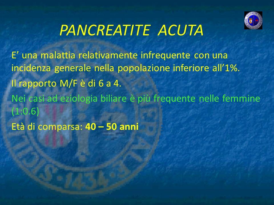 PANCREATITE ACUTA E' una malattia relativamente infrequente con una incidenza generale nella popolazione inferiore all'1%.