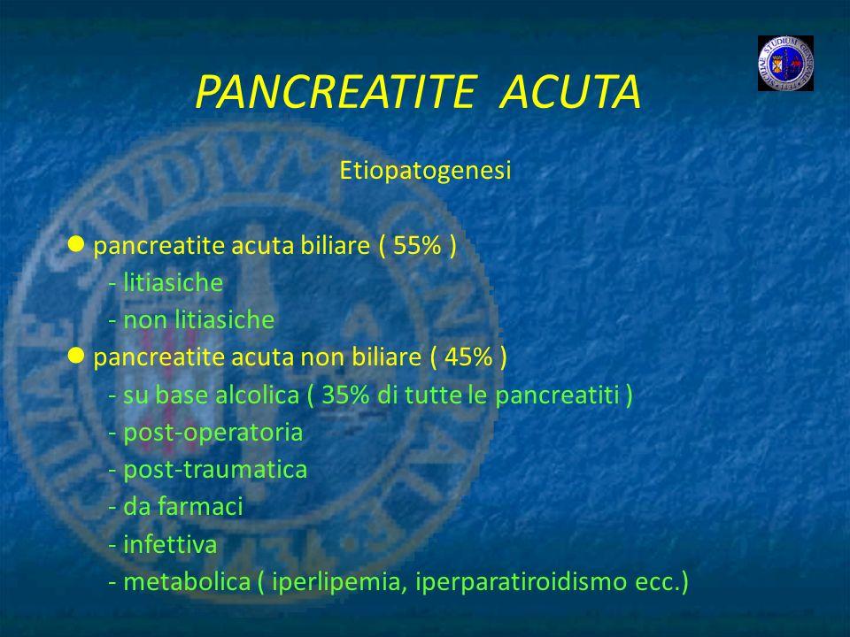 PANCREATITE ACUTA Etiopatogenesi pancreatite acuta biliare ( 55% )