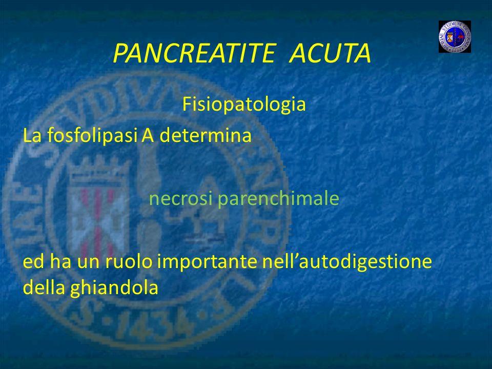 PANCREATITE ACUTA Fisiopatologia La fosfolipasi A determina
