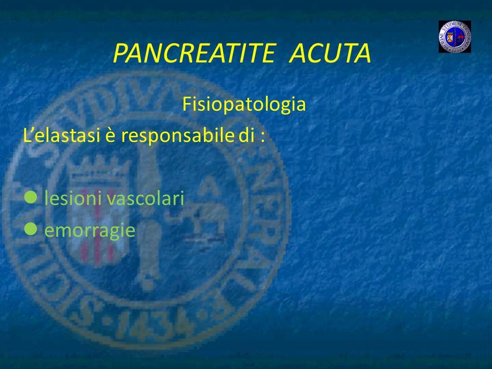 PANCREATITE ACUTA Fisiopatologia L'elastasi è responsabile di :