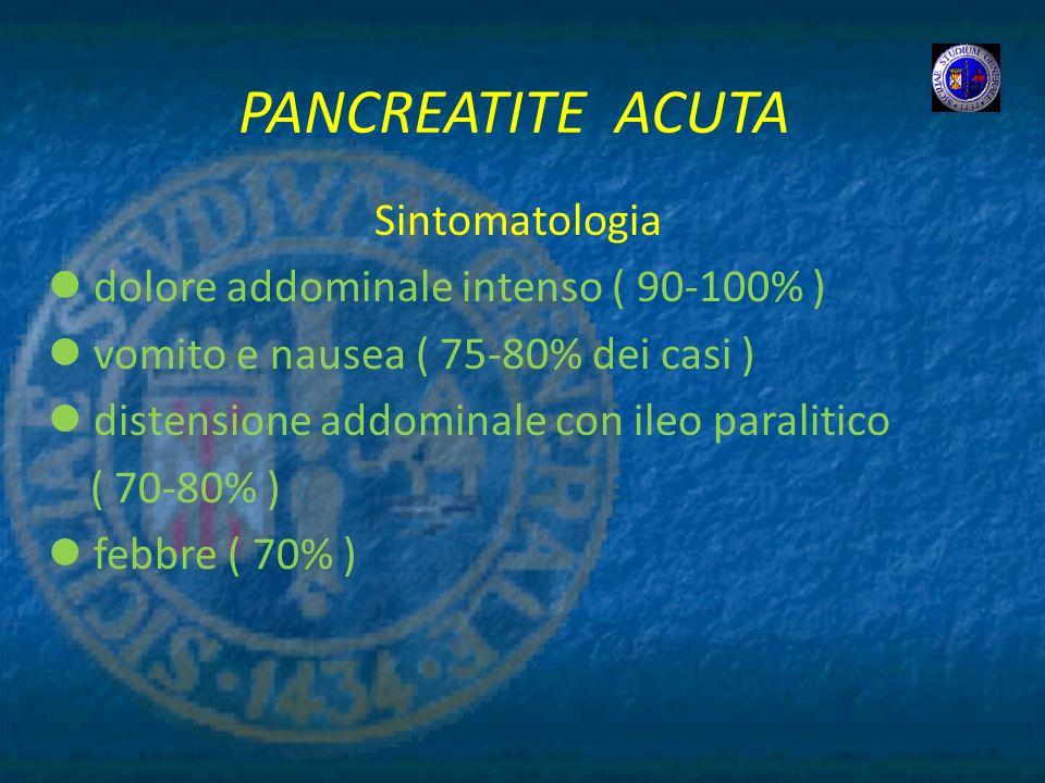 PANCREATITE ACUTA Sintomatologia dolore addominale intenso ( 90-100% )