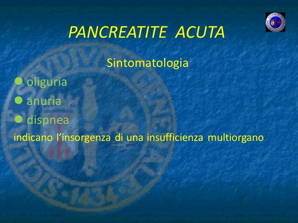 PANCREATITE ACUTA Sintomatologia oliguria anuria dispnea