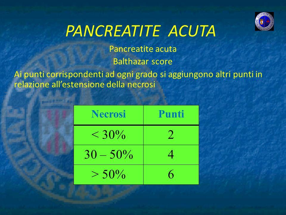 PANCREATITE ACUTA < 30% 2 30 – 50% 4 > 50% 6 Necrosi Punti