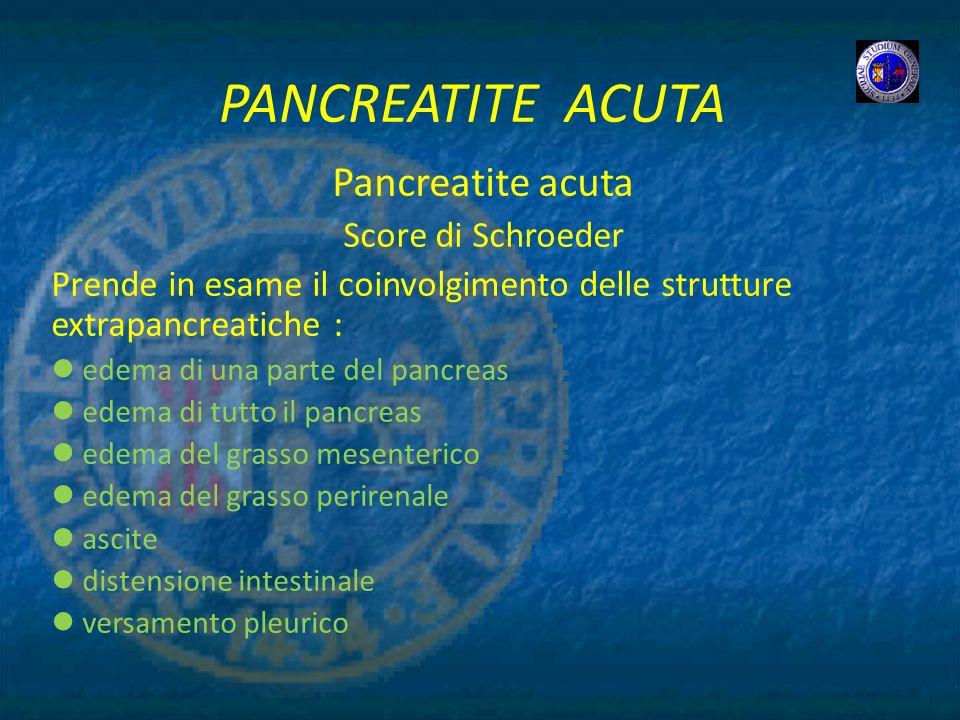 PANCREATITE ACUTA Pancreatite acuta Score di Schroeder