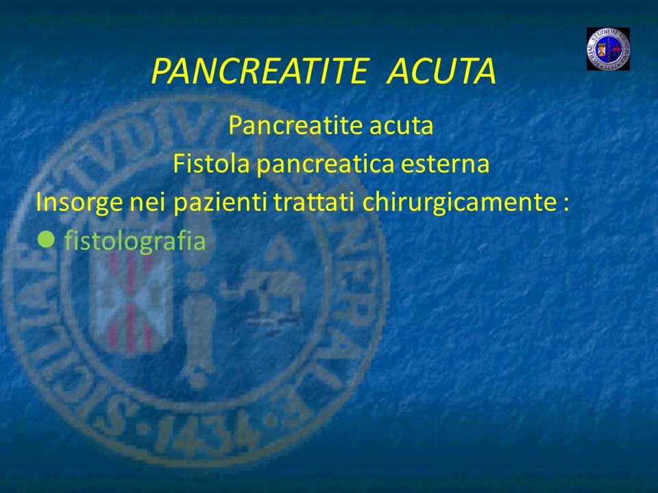Fistola pancreatica esterna