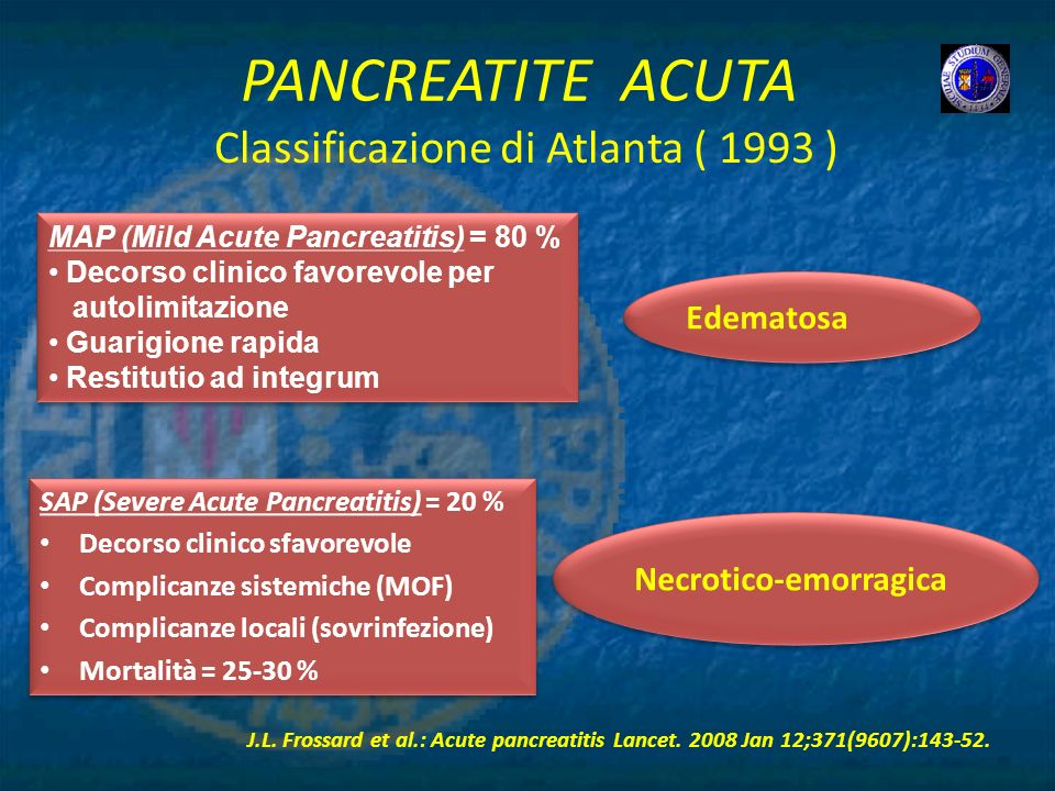 PANCREATITE ACUTA Classificazione di Atlanta ( 1993 ) Edematosa