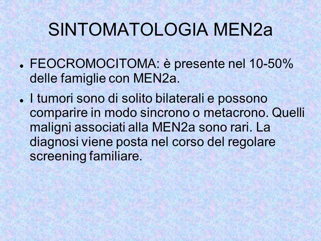 SINTOMATOLOGIA MEN2a FEOCROMOCITOMA: è presente nel 10-50% delle famiglie con MEN2a.