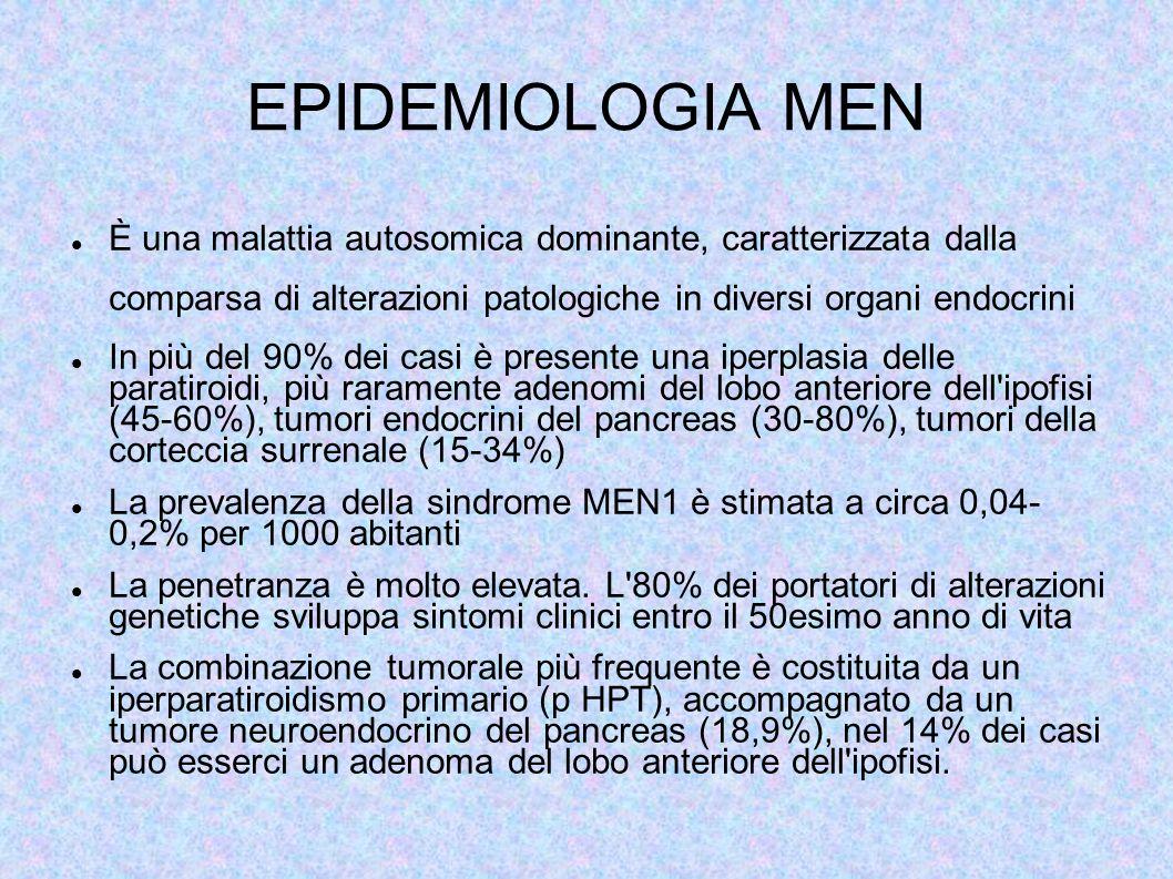 EPIDEMIOLOGIA MEN È una malattia autosomica dominante, caratterizzata dalla comparsa di alterazioni patologiche in diversi organi endocrini.