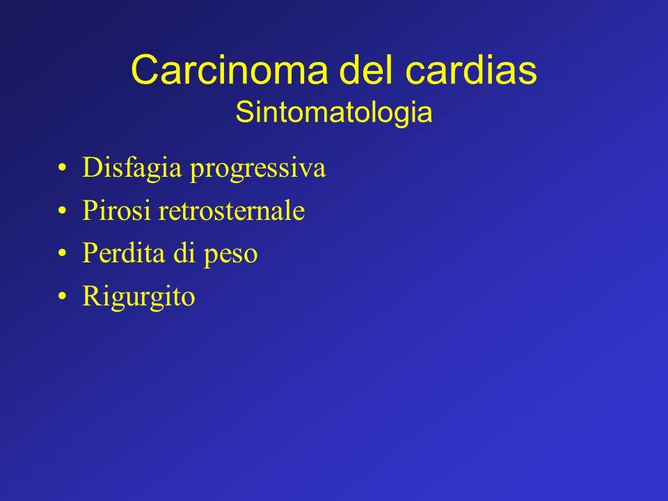 Carcinoma del cardias Sintomatologia