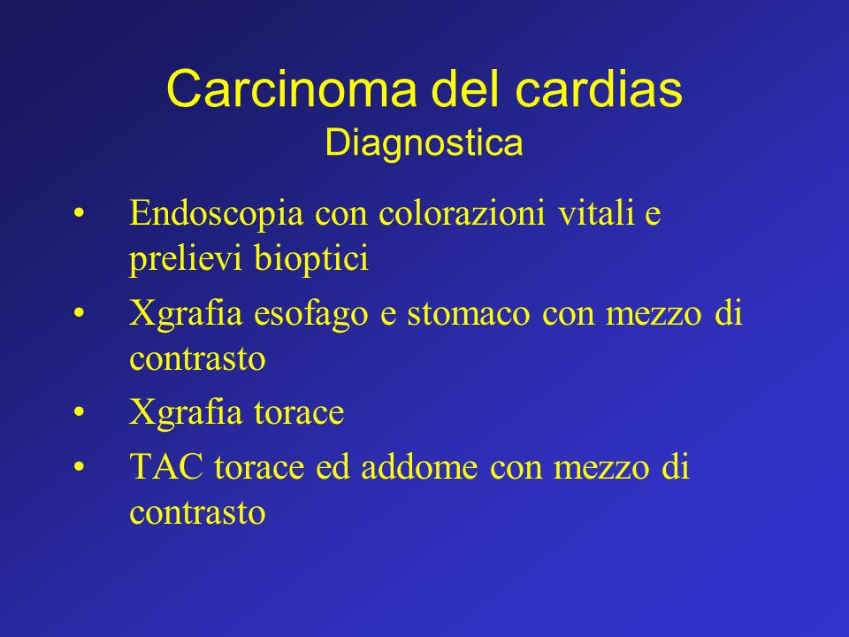 Carcinoma del cardias Diagnostica