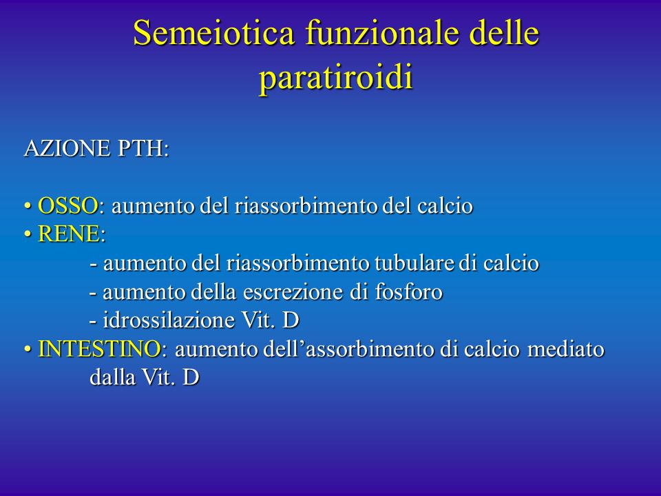 Semeiotica funzionale delle paratiroidi