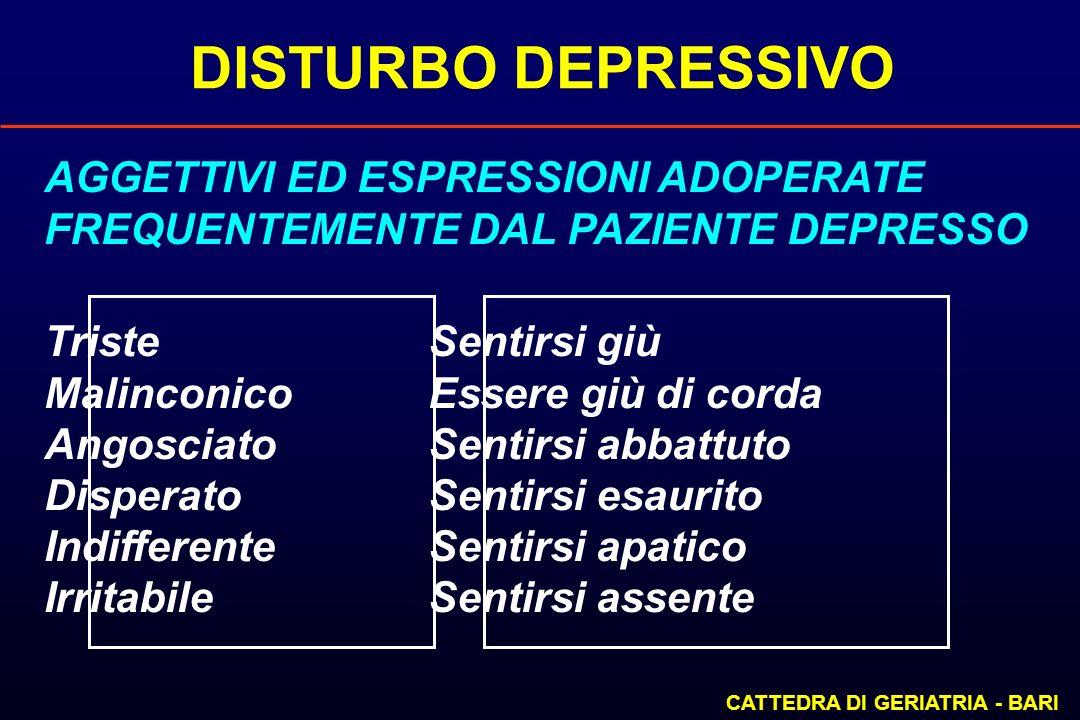 DISTURBO DEPRESSIVO AGGETTIVI ED ESPRESSIONI ADOPERATE FREQUENTEMENTE DAL PAZIENTE DEPRESSO. Triste Sentirsi giù.