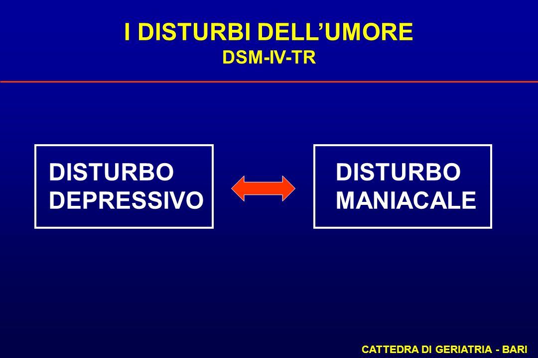 I DISTURBI DELL'UMORE DISTURBO DISTURBO DEPRESSIVO MANIACALE DSM-IV-TR