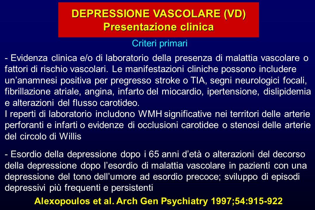 DEPRESSIONE VASCOLARE (VD) Presentazione clinica