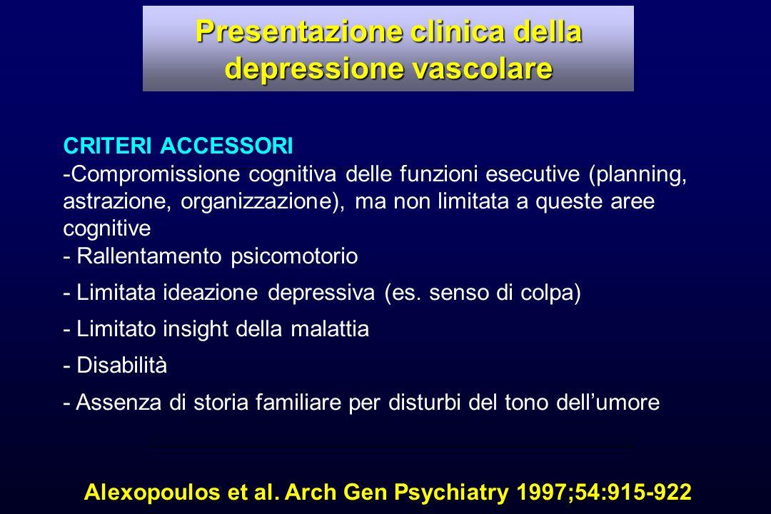 Presentazione clinica della depressione vascolare
