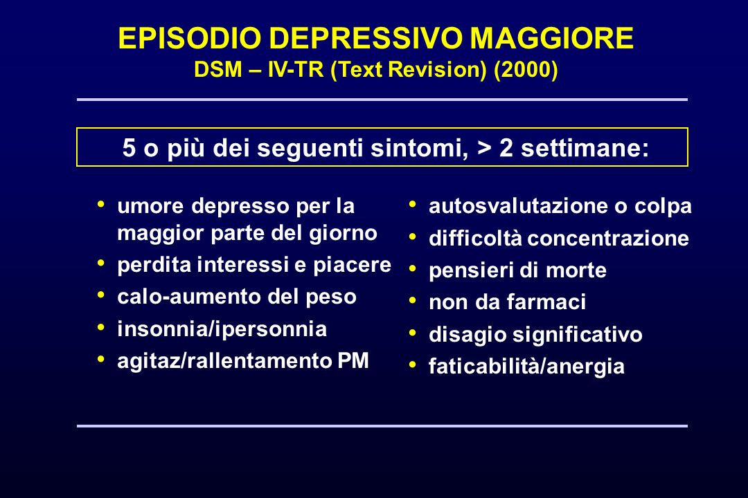 EPISODIO DEPRESSIVO MAGGIORE